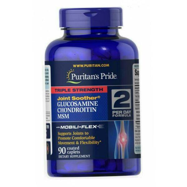 Купить хондропротектор Puritan's Pride ГХМ Triple Strength Glucosamine Chondroitin MSM 90 tablets в Украине и отправка за границу. На Greens & Vitamins.
